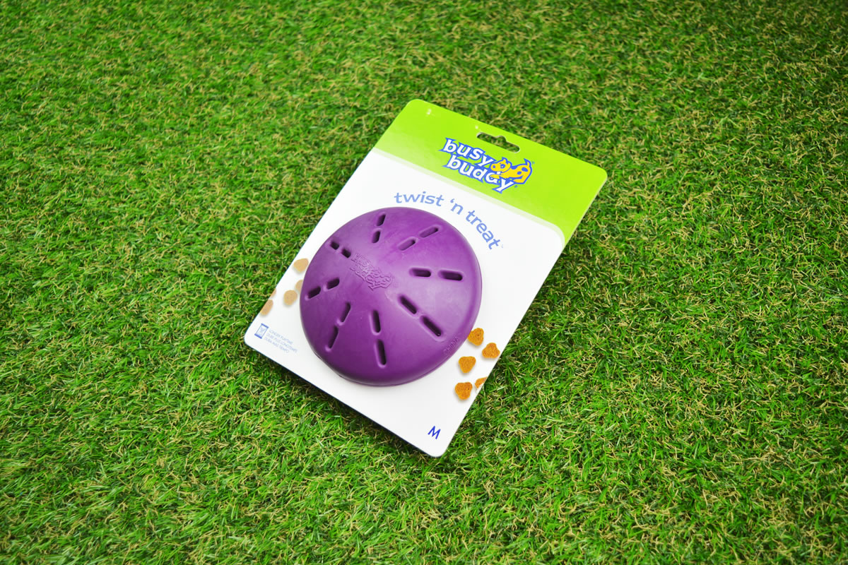 Twist n Treat dog toy available in multiple sizes.